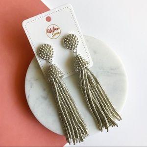 Jewelry - Beaded Tassel Earrings - Silver